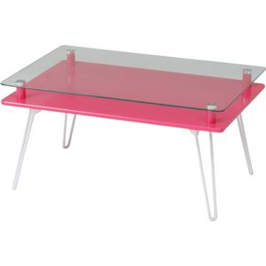 ディスプレイテーブル/ローテーブル 【幅70cm ピンク】 折りたたみ 強化ガラス製天板 スチールフレーム 収納棚付き 『クラリス』