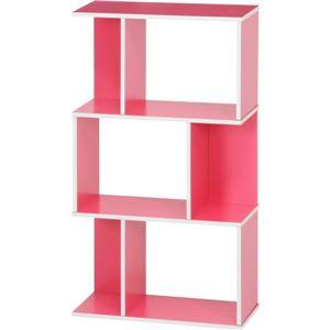 オープンラック/インテリア家具 【ピンク】 3段 幅59cm×奥行24cm×高さ106.2cm 『YOU ボックス』 - 拡大画像