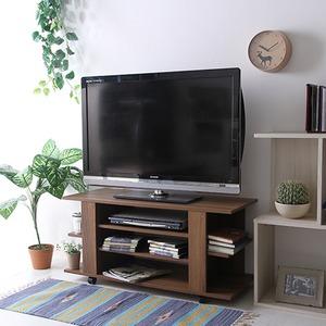 テレビボード/テレビ台 【ミディアムブラウン 幅100cm】 収納棚 キャスター付き 『ルーク』 - 拡大画像