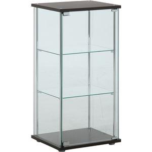 ガラス製 コレクションケース/ショーケース 【3段】 ブラウン 幅42.5cm 硝子製棚板2枚 脚付き 〔什器 店舗〕