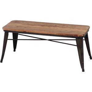 北欧調 ベンチ/スチールベンチ 【ブラウン×ナチュラル】 幅111cm スチール 木製 〔什器 カフェ〕 - 拡大画像