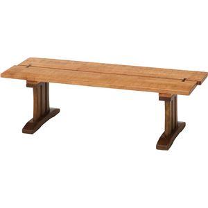 木目調 ダイニングベンチ/ベンチ 【幅115cm】 木製 『楔』 〔什器 カフェ〕 - 拡大画像