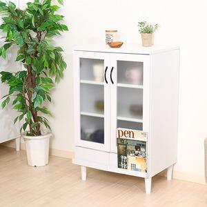 カップボード/キッチン収納 【ホワイト】 幅60cm 扉付き収納棚 脚付き 『アルト』