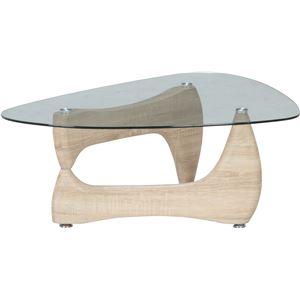 ガラス製センターテーブル/ローテーブル 【ホワイトオーク】 幅100cm 強化ガラス製天板 『ルーク』 - 拡大画像