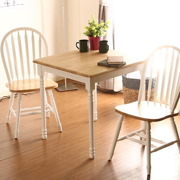 ダイニングテーブル/リビングテーブル 単品 【ホワイト×ナチュラル 幅74cm】 木製 『マキアート』