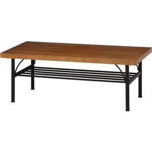 北欧風 リビングテーブル/ダイニングテーブル 【幅100cm ブラウン】 スチールフレーム 収納棚付き 『レアル』 - 拡大画像