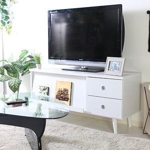 テレビボード/テレビ台 【ホワイト 幅120cm】 引き出し2杯 扉付き収納 雑誌ディスプレイ付き 『アルト』 - 拡大画像