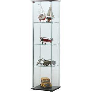 ガラス製 コレクションケース/ショーケース 【4段】 ブラウン 幅42.5cm 硝子製棚板2枚 脚付き 〔什器 店舗〕