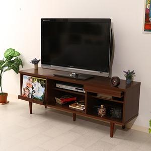 テレビボード/テレビ台 【ダークブラウン 幅150cm】 42型〜65型対応 収納棚 扉付き収納 雑誌ディスプレイ付き 『アルト』
