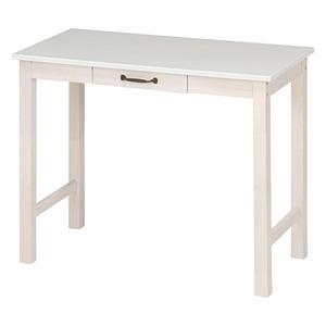 北欧風 デスク/マルチテーブル 【ホワイトウォッシュ】 幅90cm 引き出し1杯付き 『マンチェスター』 - 拡大画像