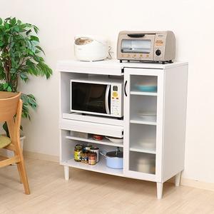 キッチンキャビネット/キッチン収納 【ホワイト】 幅90cm 扉付き収納 多用途ディスプレイ 脚付き 『アルト』