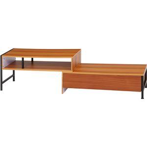 リビングボード/サイドボード 【ブラウン】 幅91cm 引き出し2杯 収納棚付き 伸縮式 『SMART』