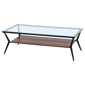 ガラス製リビングテーブル/ダイニングテーブル 【ダークブラウン 幅120cm】 強化ガラス天板 スチールフレーム 棚板付 『クレア』 - 拡大画像