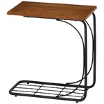 北欧風 サイドテーブル/ローテーブル 【幅50cm ブラウン】 木製 収納棚付き 『レアル』 〔リビング〕