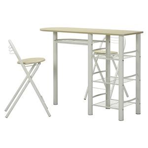 カウンターテーブル&折りたたみチェア2脚セット 【ホワイト×ホワイト】 幅120cm スチールフレーム 収納棚4段付き