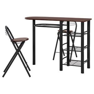 カウンターテーブル&折りたたみチェア2脚セット 【ブラウン×ブラック】 幅120cm スチールフレーム 収納棚4段付き