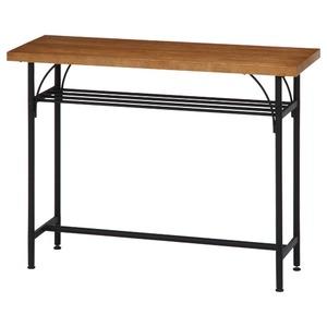 北欧風 カウンターテーブル/ダイニングテーブル 【幅110cm ブラウン】 スチールフレーム 収納棚付き 『レアル』 - 拡大画像