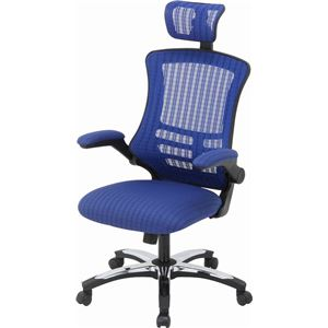 多機能アームアップチェア/オフィスチェア 【ブルー】 幅66cm ハイバック 肘掛け キャスター付き 『マスターIII』 - 拡大画像