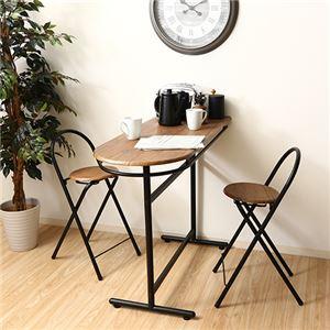 カウンターテーブル&カウンターチェアーセット 【3点セット】 テーブル・折りたたみ椅子2脚 コンパクトサイズ - 拡大画像