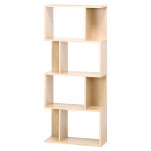 ディスプレイシェルフ/本棚 4段 【ナチュラル】 幅59cm 横置き 間仕切り対応 『S型』 〔什器 書斎 オフィス〕 - 拡大画像