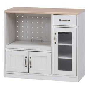 キッチンカウンター 90cm幅 ナチュラル×ホワイト
