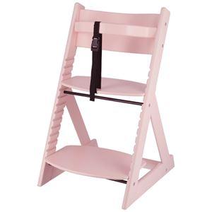 ベビーチェア/子供椅子 【ペールピンク 】 幅450×奥行505×高さ78mm 落下防止ベルト付 『グローアップチェアー』 【組立品】 - 拡大画像