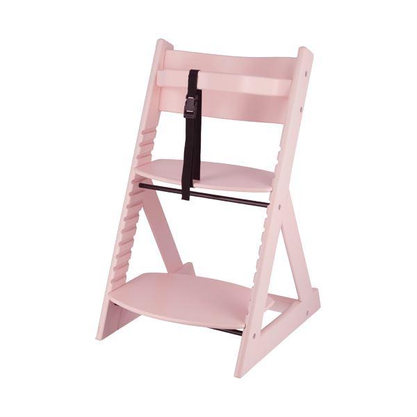 ベビーチェア/子供椅子 【ペールピンク 】 幅450×奥行505×高さ78mm 落下防止ベルト付 『グローアップチェアー』 【組立品】