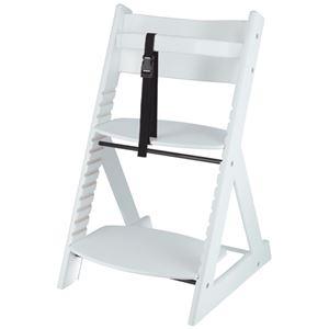 ベビーチェア/子供椅子 【ペールホワイト 】 幅450×奥行505×高さ78mm 落下防止ベルト付 『グローアップチェアー』 【組立品】 - 拡大画像