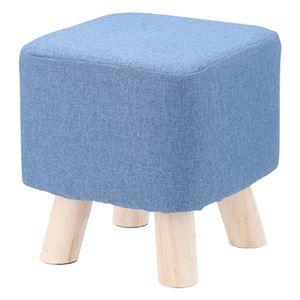 オットマン/腰かけ椅子 【スクエア ブルー】 幅265×奥行265×高さ270mm 綿 木製 脚付き 『ミニファブリックスツール』 - 拡大画像