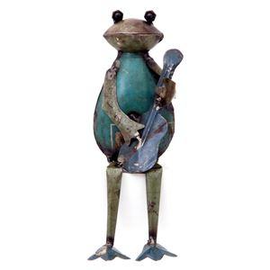 リサイクルスチールオブジェ カエル ギター - 拡大画像