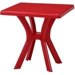 スクエアテーブル レッド 幅73×奥行73×高さ73cm 〔ガーデンファニチャー〕