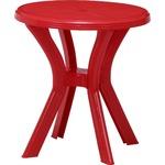 ラウンドテーブル レッド 幅67×奥行67×高さ73cm 〔ガーデンファニチャー〕