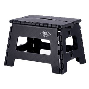 フォールディングステップスツール 幅32.5×奥行25.5×高さ22cm ブラック 1個 - 拡大画像