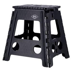 フォールディングステップスツール 幅39×奥行33×高さ39cm ブラック 1個 - 拡大画像
