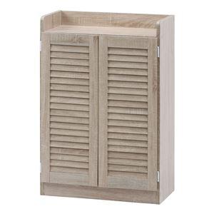 ルーバーシューズボックス(オープントップ) ホワイトオーク 幅60×奥行33.5×高さ90cm 組立品 - 拡大画像