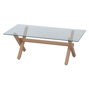 センターテーブル ガラス天板 フィルム無 ナチュラル 幅110×奥行60×高さ40cm 組立品 - 拡大画像