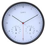 掛時計温湿度計付 ローレス 25cm BK ブラック(99042)【3個セット】