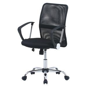 デスクチェア(椅子)/メッシュバックチェアー ガス圧昇降機能/肘掛け/キャスター付き ブラック(黒) - 拡大画像