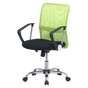 デスクチェア(椅子)/メッシュバックチェアー ガス圧昇降機能/肘掛け/キャスター付き グリーン(緑) - 拡大画像