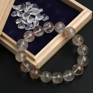 【金運】銀ルチルクォーツブレス12ミリ・ヒマラヤ水晶さざれ石付き♪ - 拡大画像