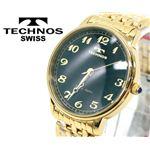 【TECHNOS】テクノス スリムウォッチ 本サファイヤ1石 T4094 文字盤ブラック/本体ゴールド