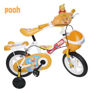 stitch & pooh 12インチ子供自転車 補助輪・カゴ付き 黄色2台セット - 拡大画像