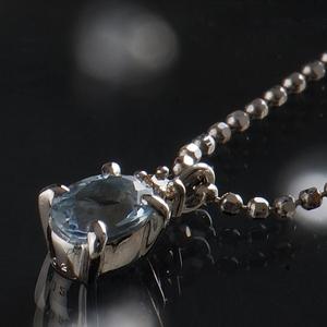 《地球遺産シリーズ》シルバー0.4ctupアクアマリンダイヤモンド入りネックレス - 拡大画像