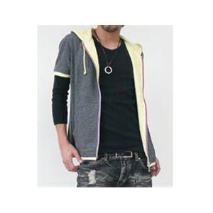 半袖カラフルジップパーカー×七分袖カットソー チャコールグレー×ブラック L - 拡大画像