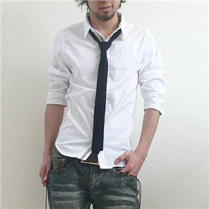 七分袖ネクタイつき前たてシャツ(GRN09-218) ブラック×ナチュラル Lサイズ - 拡大画像