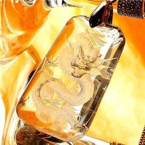 龍彫り水晶ペンダント - 拡大画像