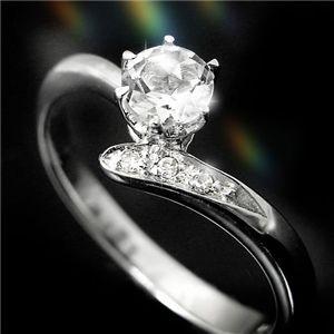 ホワイトトパーズ&ダイヤリング 指輪 3P姫リング 9号 - 拡大画像
