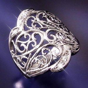 透かし彫りダイヤリング 指輪 19号 - 拡大画像