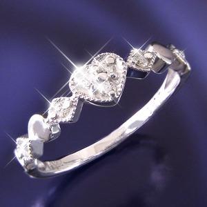 ハートダイヤリング 指輪 セブンストーンリング 15号 - 拡大画像