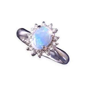 大粒オパール&ダイヤリング 指輪 9号 - 拡大画像